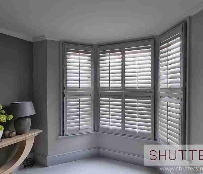 Grey window shutters from Shuttertec